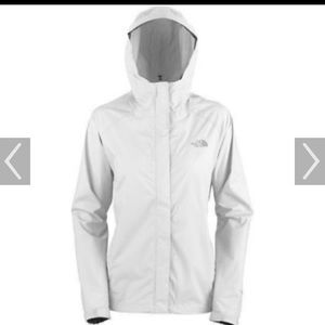 White North Face rain coat